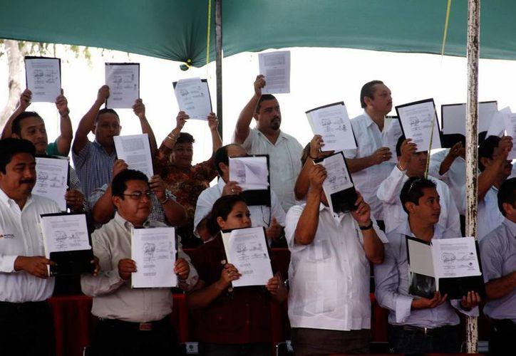 Alcaldes de 105 municipios firmaron el convenio para dar paso a la Policía Estatal Coordinada. (SIPSE)