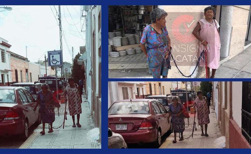 Las mujeres son vistas por las calles de Mérida, mientras piden limosna. (facebook.com/ConsignaYuc)
