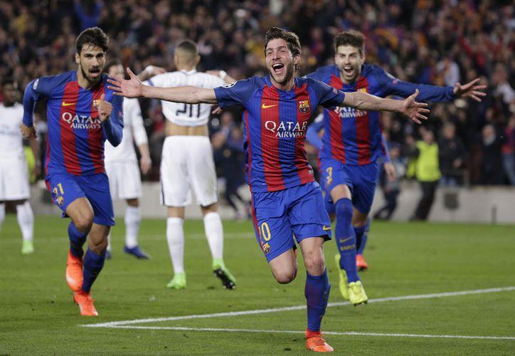 Sergi Roberto se encargó de sentenciar el partido ante el PSG, en duelo de Octavos de Final.(Emilio Morenatti/AP)