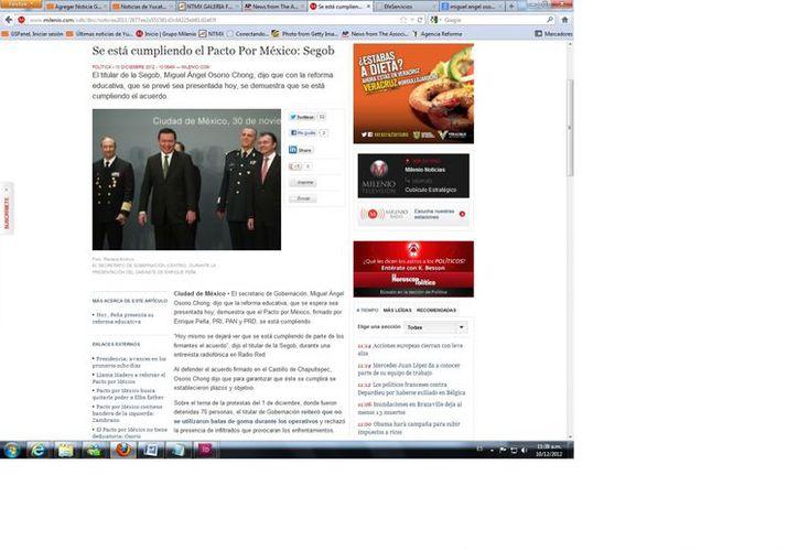 Osorio Chong dijo que se establecieron plazos y objetivos para garantizar que se cumpla el Pacto por México. (Captura de pantalla de Milenio)