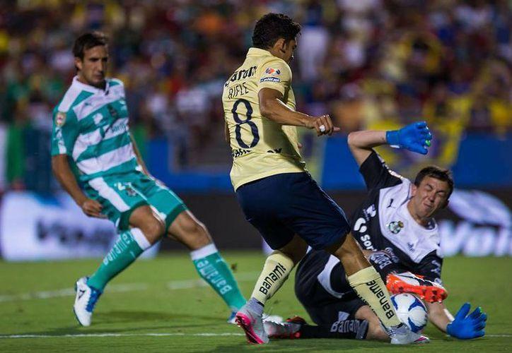 El club Santos Laguna venció 1 a 0 a las águilas del América con anotación de Néstor Calderón en partido correspondiente al campeón de campeones de la liga MX.(Sitio oficial Club América)
