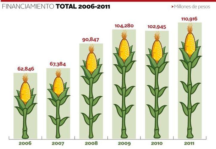 Financiamiento total al campo mexicano de 2006 a 2011, en millones de pesos. (Milenio)