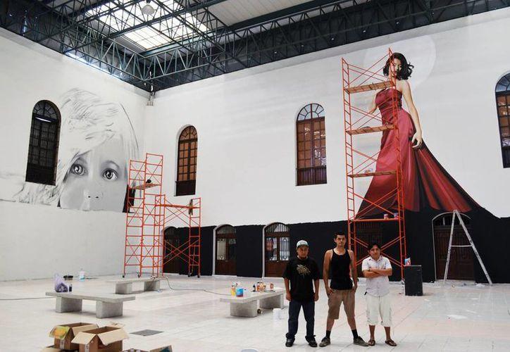 """Los artistas urbanos """"Sketch"""", Levi Ponce y """"Nookye"""" presentarán su trabajo en el Macay ubicado en el centro de Mérida. (Milenio Novedades)"""
