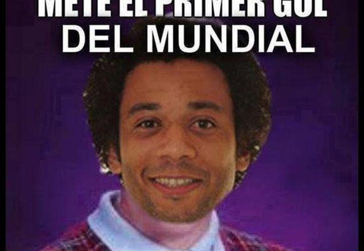 El defensor brasileño Marcelo, quien anotó un gol en propia puerta en el partido inaugural, es el blanco preferido de las burlas. (Internet)