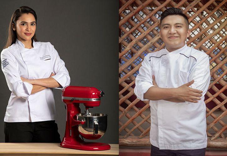 Lorena Valenzuela y Eliodoro Xicum, dos chefs jóvenes que representarán a Yucatán en la semifinal del prestigiado concurso gastronómico S. Pellegrino Young Chef 2020 Latinoamérica. (Fotos de Cortesía)