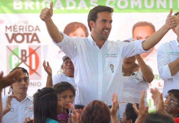 El candidato del PRI a diputado federal por el III Distrito, Pablo Gamboa Miner, ofreció una campaña de propuestas. (SIPSE)