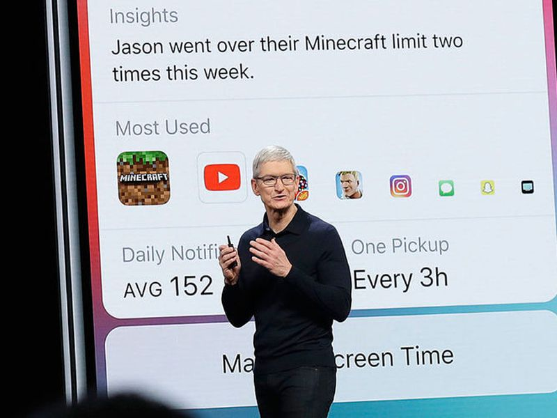 Apple CEO Tim Cook speaks in front of a Screen Time image during an announcement of new products at the Apple Worldwide Developers Conference, in San Jose, Calif. (AP)