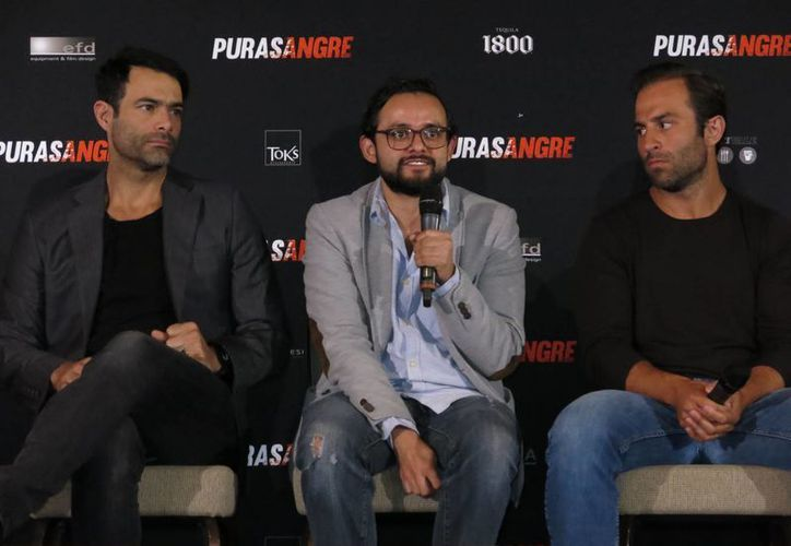 La película 'Purasangre', protagonizada por César Rodríguez, Adrián Vázquez, Ruy Senderos y Luis Roberto Guzmán será estrenada este viernes en México. (Berenice Bautista/AP)