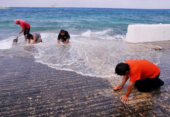 En la rampa de botado se cepilló el declive para eliminar el verdín y otros organismos que ponían en riesgo a los usuarios y sus embarcaciones. (Redacción/SIPSE)