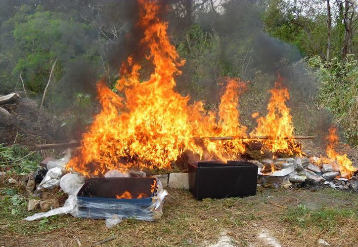 En las instalaciones de la Delegación estatal de la PGR se incineró alrededor de 100 kilos de droga. (Milenio Novedades)