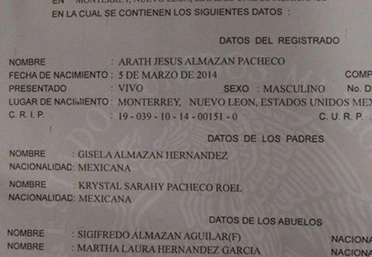 El registro civil de Nuevo León accedió a expedir el acta de nacimiento de Jesús Arath nueve días después de la primera petición. (Milenio)