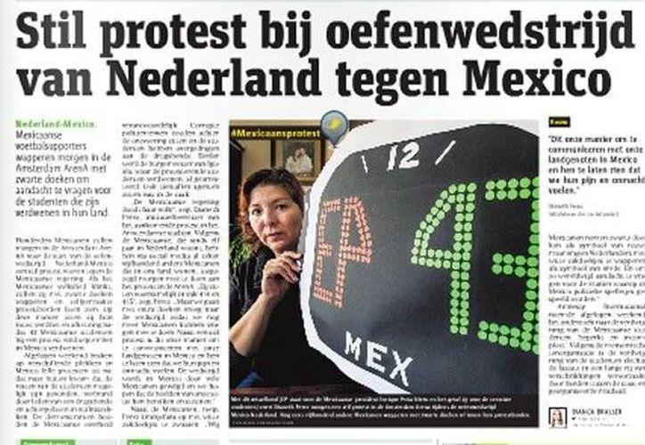 La nota de las protesta por los normalistas de Ayotzinapa que publica el diario holandés Metro. (mediotiempo.com)