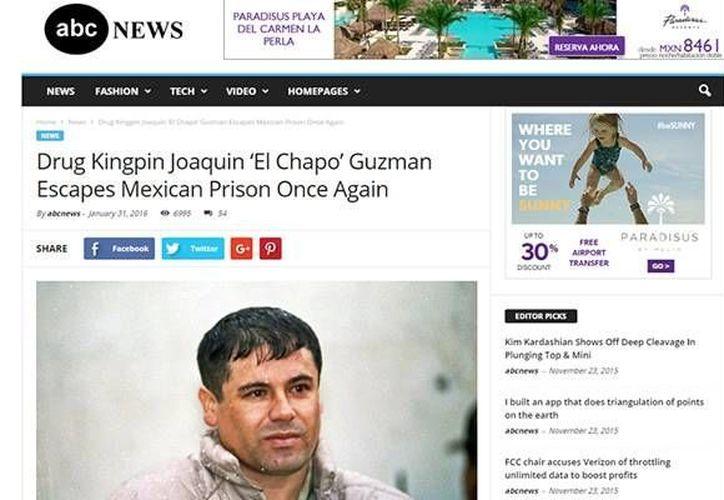 Captura de pantalla de la falsa noticia sobre una nueva fuga del 'Chapo' Guzmán. (SIPSE)