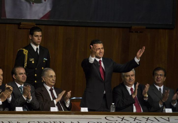 El presidente Enrique Peña durante su encuentro con la CTM. (Agencias)
