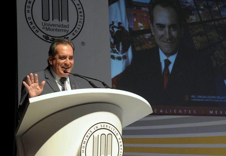 Carlos Lozano de la Torre en la Universidad de Monterrey. (Gobierno de Aguascalientes)