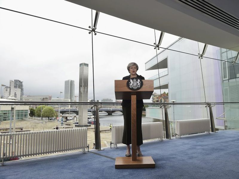 British Prime Minister Theresa May gives her speech at the Waterfront Hall, in Belfast, Northern Ireland, Friday, July 20, 2018. (AP)