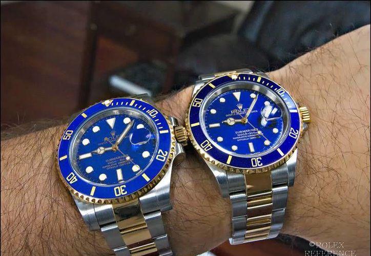 Imagen de relojes Rolex. El del lado izquierdo es falso. En Mérida, se han presentado 30 denuncias por relojes pirata de las marcas Rolex, Panerai y Cartier. (SIPSE)