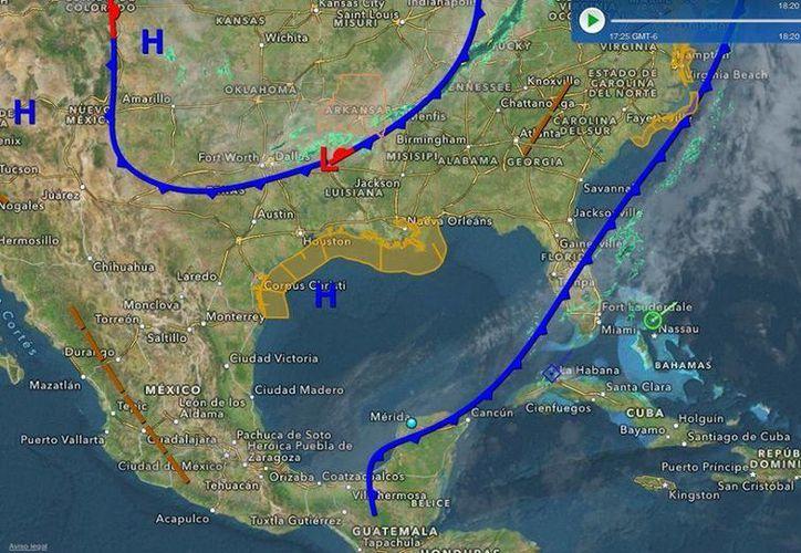 Un 'tren' de frentes fríos avanza hacia la Península de Yucatán. (Conagua)