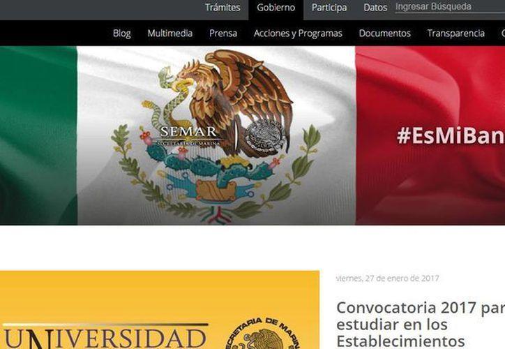La Secretaría de Marina indica que su único sitio web es www.semar.gob.mx. (Captura de pantalla)