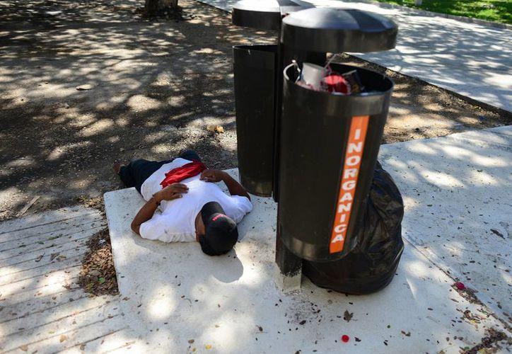 El servicio de recolección de basura en la ciudad recibe numerosas quejas al día. En la imagen, un trabajador descansa al lado de un bote de desperdicios. (Milenio Novedades)