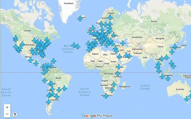 Anil Polat, con ayuda de otros internautas, creó un mapa interactivo para compartir las contraseñas de 130 aeropuertos del mundo. (Google maps)
