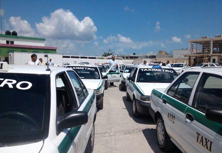 Las unidades que participan en el programa piloto de taxímetro. (Tomás Álvarez/SIPSE)