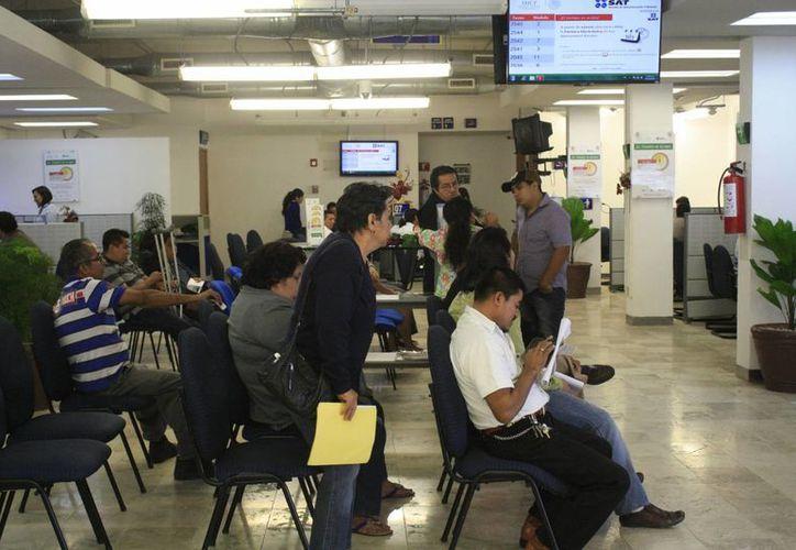 Personal del SAT de Chetumal realiza su mayor esfuerzo para agilizar el servicio. (Harold Alcocer/SIPSE)