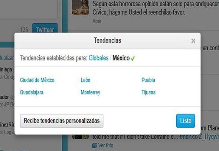 Hoy en nuestro país ya se pueden observar 6 ciudades con trending topics propios. (Twitter)