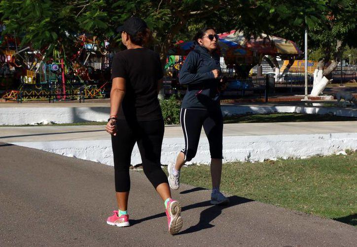 Hacer ejercicio, objetivo recurrente para iniciar. Imagen de contexto de dos mujeres en un parque de Mérida. (Milenio Novedades)