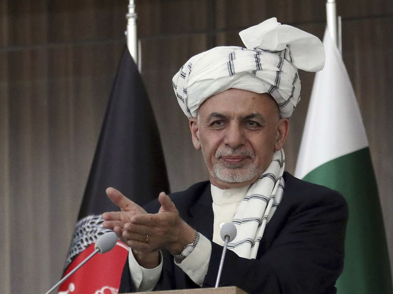 Afghanistan's President Ashraf Ghani speaks during the integration ceremony of TAPI pipeline in Herat city, west of Kabul, Afghanistan.