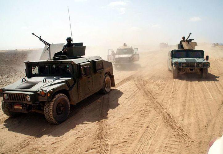 Vehículos del ejército yemení toman posición en la primera línea de la lucha contra Al Qaeda en la provincia suroriental de Shabwa, Yemen. (Agencias)