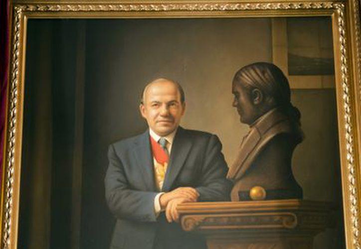 Cuadro de Felipe Clderón en la Galería de los Presidentes, en Palacio Nacional. (Archivo Notimex)