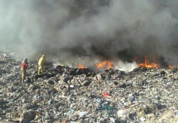 El incendio que se registro en el relleno sanitario el lunes, ya fue sofocado en su totalidad. (Harold Alcocer/SIPSE)