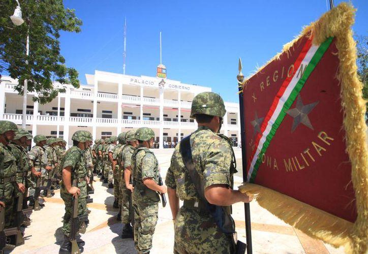 Los militares continuarán con el combate frontal a la delincuencia organizada. (Carlos Horta/SIPSE)