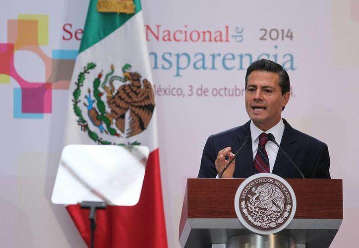En el marco de la clausura de los trabajos de la Semana Nacional de Transparencia 2014, Peña Nieto dijo que la rendición de cuentas es parte de la democracia. (Notimex)