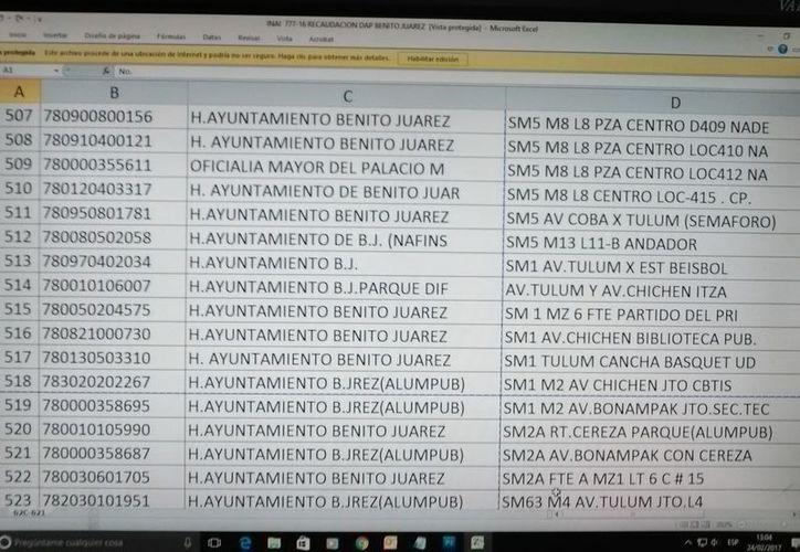 Listado del número de usuarios del alumbrado público en el municipio. (Redacción)