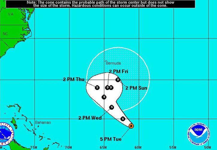 Se espera que la tormenta tropical 'Nicole' se debilite con el paso de las horas. (noaa.gov)