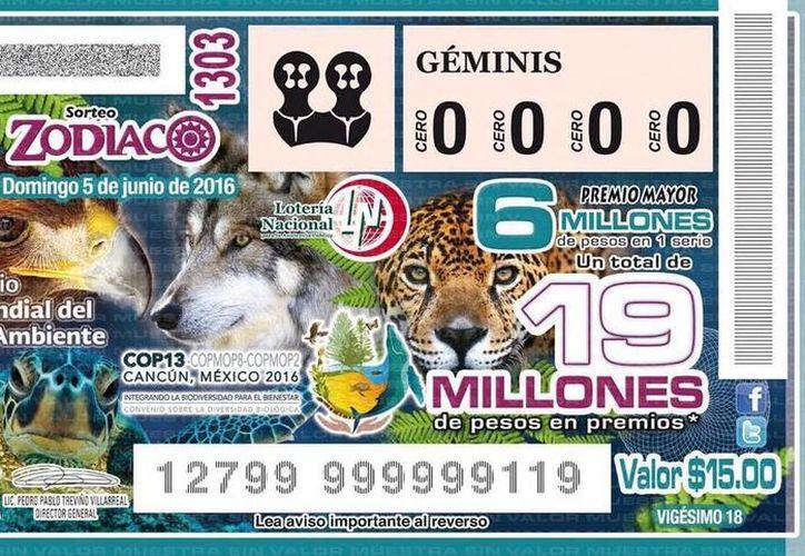 Imagen del billete de loteria de este 5 de junio que tiene como tema el Día Mundial del Medio Ambiente y la @COP13 que se realizará en Cancún. (@SEMARNAT_mx)