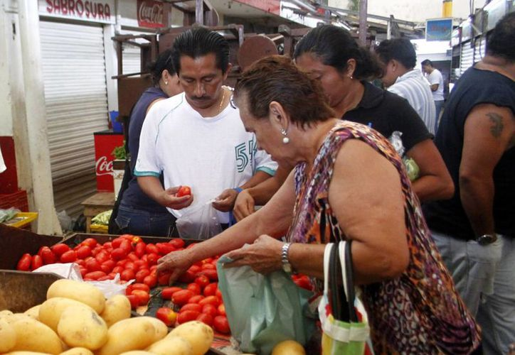 Durante la primera quincena de diciembre de 2015 el INPC registró un crecimiento de 0.26 por ciento y una tasa de inflación anual de 2 por ciento, un nuevo mínimo histórico. Imagen de un par de personas que escogen tomates en un mercado de Mérida. (Archivo/SIPSE)