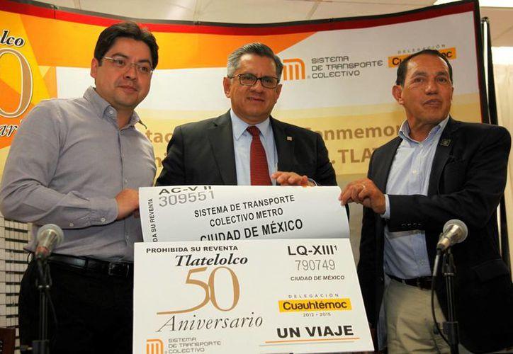 El boleto conmemorativo de los 50 años dela unidad Nonoalco-Tlatelolco comenzará a circular este 17 de enero. (metro.df.gob.mx)