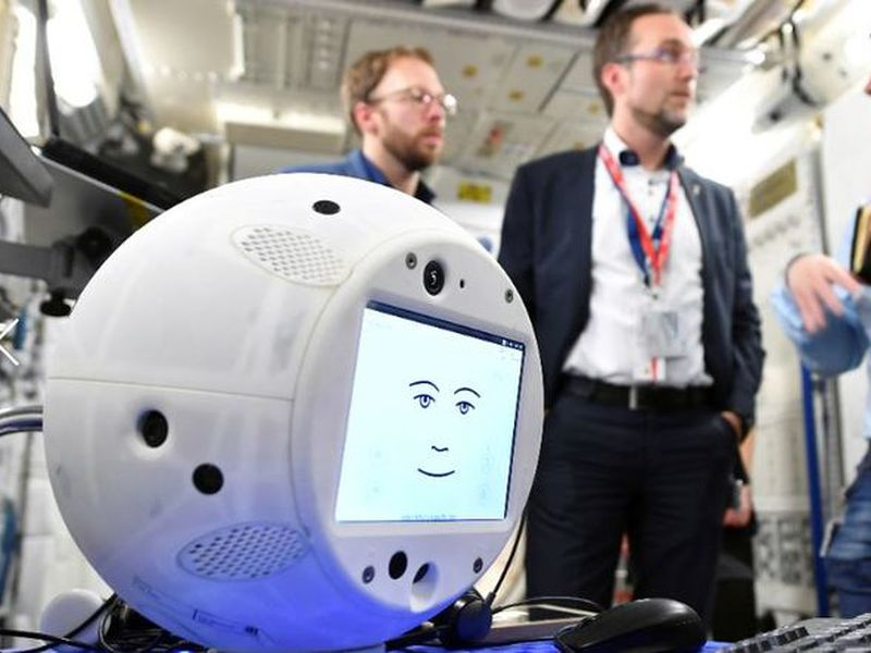 """This photo shows the """"Cimon"""" robot during a communications test at the ESA European Astronaut Center in Cologne-Porz, Germany. (AP)"""