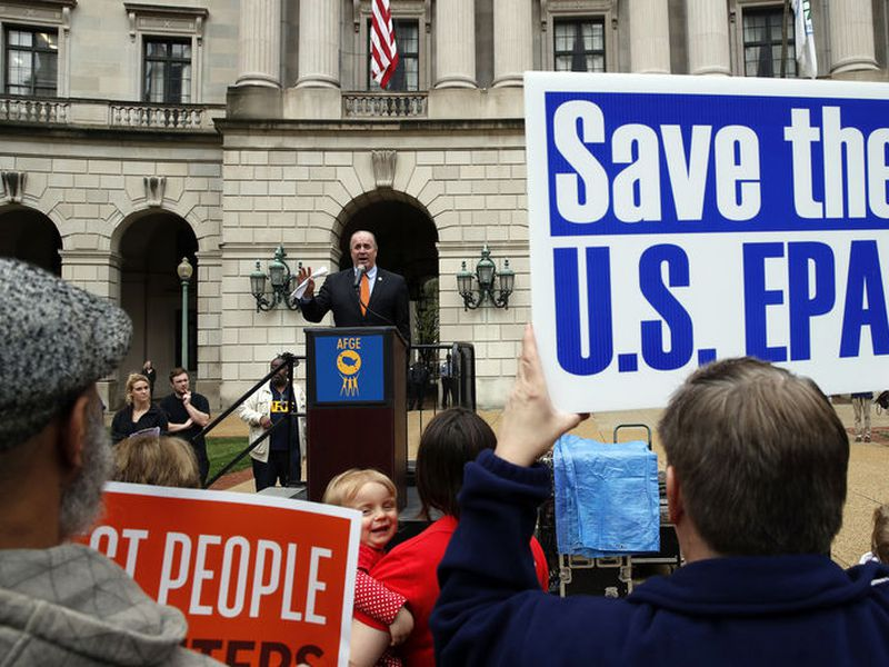 Rep. Dale Kildee, D-Mich., speaks about EPA Administrator Scott Pruitt and the state of the EPA during a protest by the American Federation of Government Employees union.