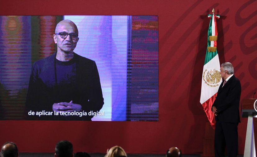 Mensaje de Satya Nadella, director ejecutivo de Microsoft, en el marco de la colaboración entre el gobierno de México y la empresa que dirige. (Notimex)