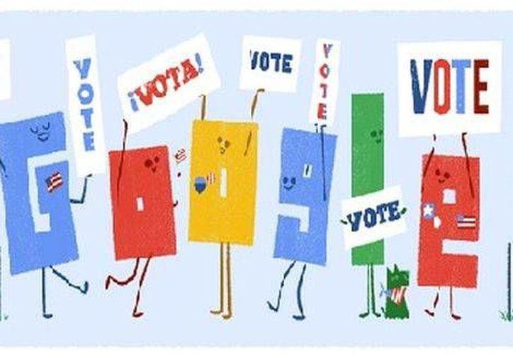 El doodle también estará dando los resultados de las Elecciones de EU 2016 en tiempo real.(Captura de pantalla)