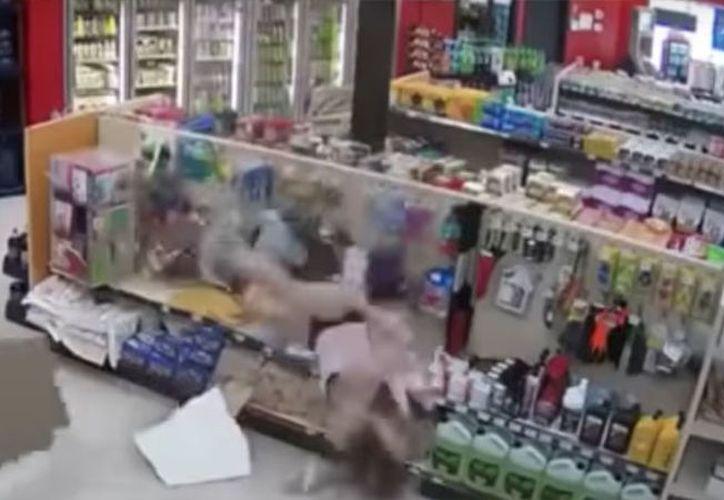 La primera reacción del sospechoso para evadirse fue empujar a su amiga contra el oficial de la Real Policía Montada de Canadá. (Captura de video)