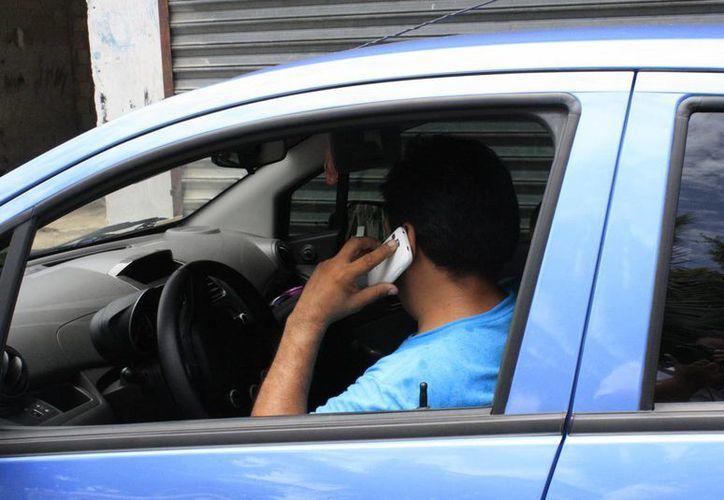 El uso de celular entre los automovilistas ha ocasionado la aplicación de 20 infracciones diarias. (Paloma Wong/SIPSE)