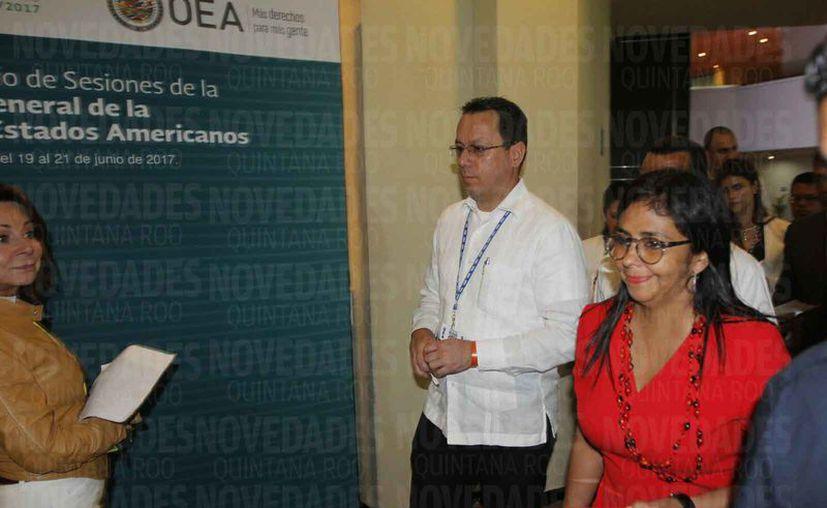 La venezolana Delcy Rodríguez abandonó el pasado lunes la reunión de cancilleres. (Israel Leal/SIPSE)