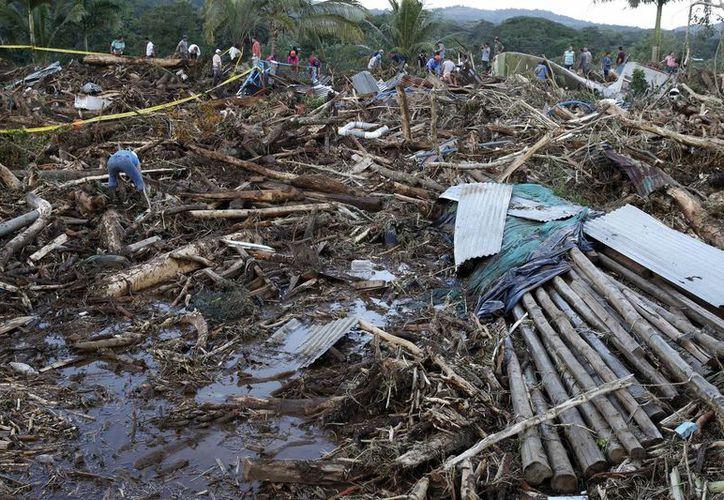 La temporada finalizó con un inesperado y fuerte huracán Otto a finales de noviembre del cual todavía se recuperan en Centroamérica. Imagen de un grupo de habitantes en las labores de recuperación de cuerpos en el norte de Costa Rica. (EFE)