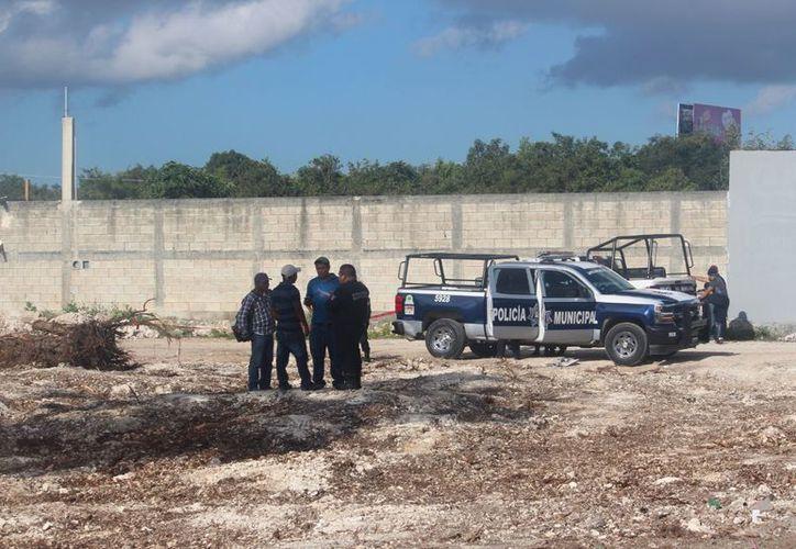 Policías municipales entrevistas a los otros trabajadores. (Eric Galindo/SIPSE)
