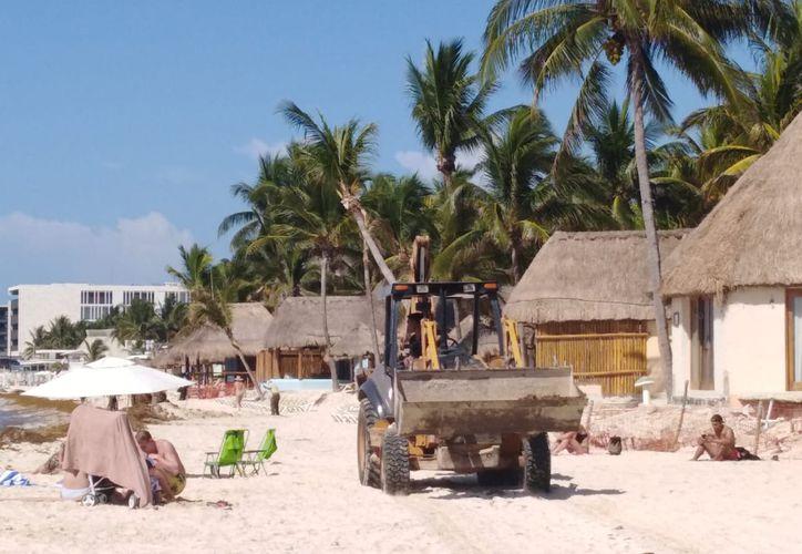 Por media hora, el tractor permaneció en la zona de playas de Shangri-la, invadiendo la zona de anidación de tortugas. (Foto: Octavio Martínez/SIPSE)